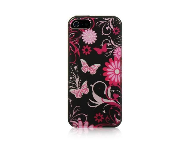 Apple iPhone 5 Snap-On Plastic Case (Pink Butterfly Garden)