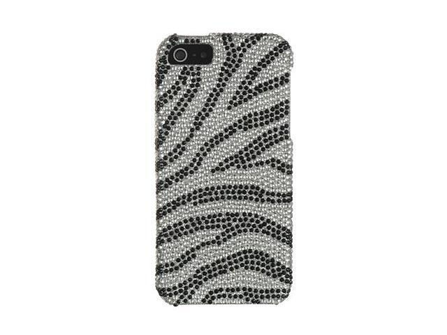 Apple iPhone 5 Full Diamond Plastic Case w/ Silver Zebra (Black)