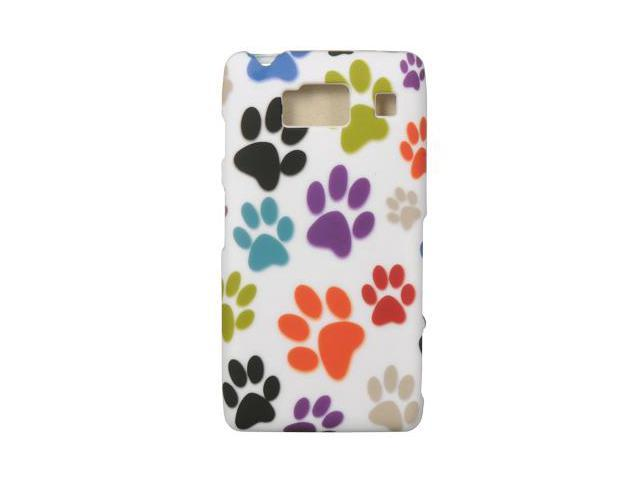 Motorola Droid RAZR HD Rubberized Proguard Case (Rainbow Dog Paws) (White)