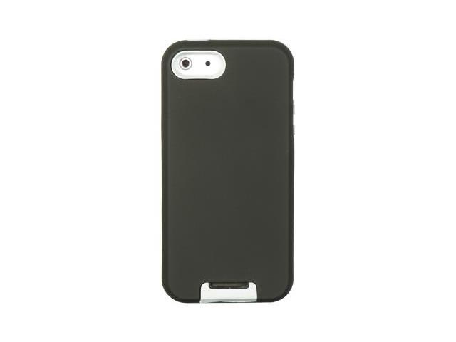 Apple iPhone 5 Double Layer Hybrid case w/ Pull-out Kickstand (Black) (White)