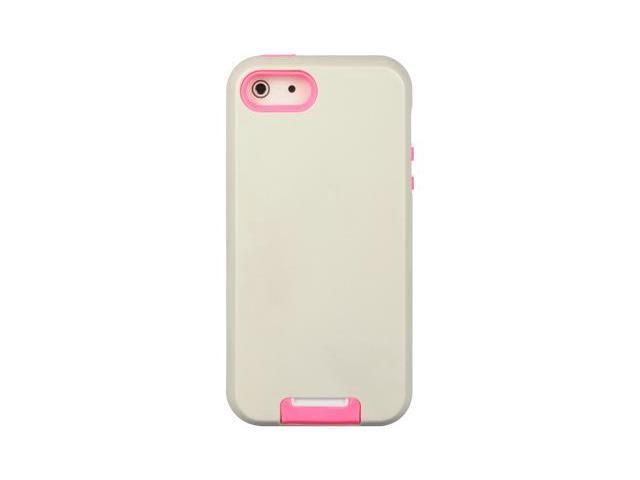 Apple iPhone 5 Double Layer Hybrid case w/ Pull-out Kickstand (Pink) (White)