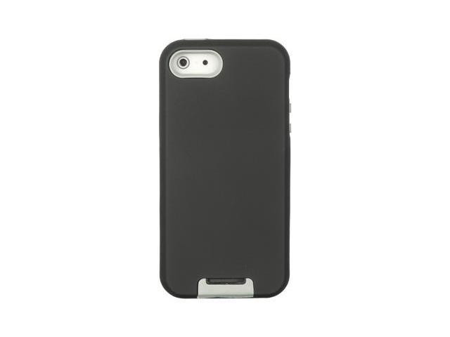 Apple iPhone 5 Double Layer Hybrid case w/ Pull-out Kickstand (Gray) (Black)