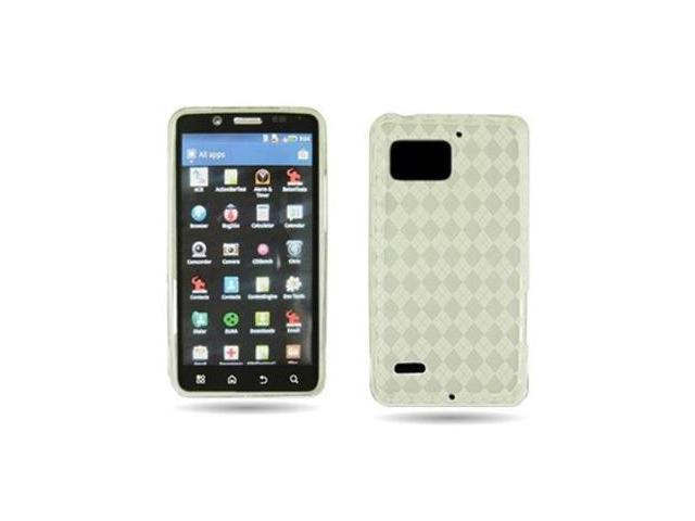 Fosmon TPU Protective Case for Motorola DROID Bionic XT875 (White/Clear with Argyle/Checker Pattern)