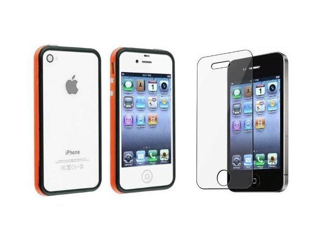 Fosmon 2 Tone Bumper Case + Screen Protector for Apple iPhone 4/4S - Orange & Black