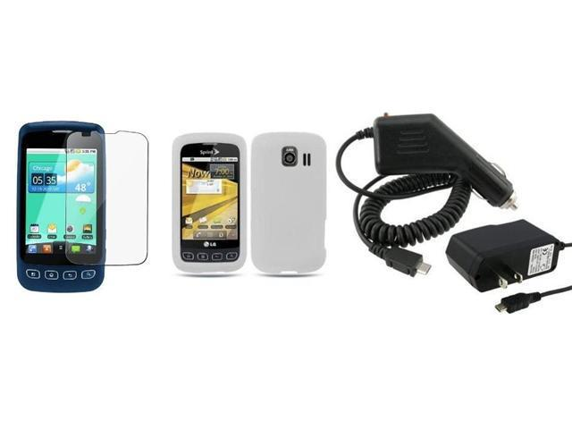 Fosmon Soft Silicone Skin Cover Case + LCD Screen Protector + Car Charger + Home Charger for LG Optimus S LS670