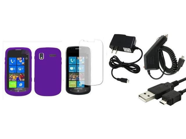 Fosmon Soft Silicone Skin Cover Case + LCD Screen Protector + Car Charger + Home Charger for Samsung Focus i917