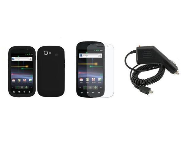 Fosmon Soft Silicone Skin Cover Case + LCD Screen Protector + Car Charger for Samsung Google Nexus S 19020