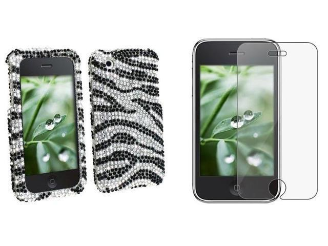 Fosmon Zebra Diamond Clip-on Case + Screen Protector Compatible With Apple iPhone 3G / iPhone 3GS