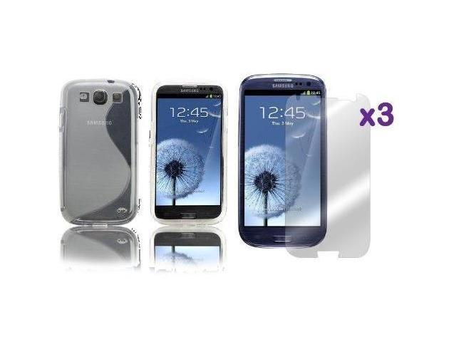 Fosmon TPU Case + Screen Protector for Samsung Galaxy S 3 / S III i9300 - (S Shape)