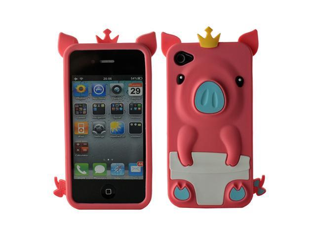 Fosmon 3D Cute Pig Silicone Protector Case Cover for Apple iPhone 4S