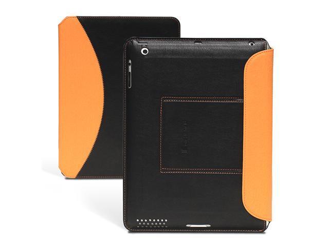 GreatShield Ultra Thin Wireless Bluetooth Keyboard Leather Folio Case with Stand for iPad (Orange)
