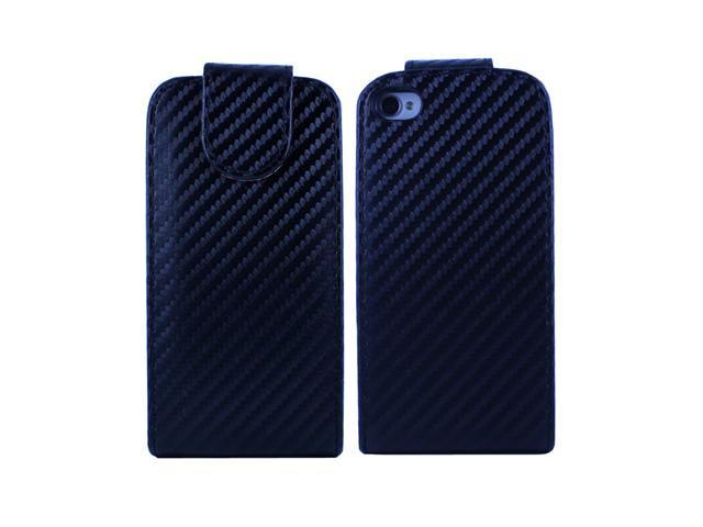 Fosmon Vertical Flip Leather Case for Apple iPhone 4S / 4 - Carbon Fiber