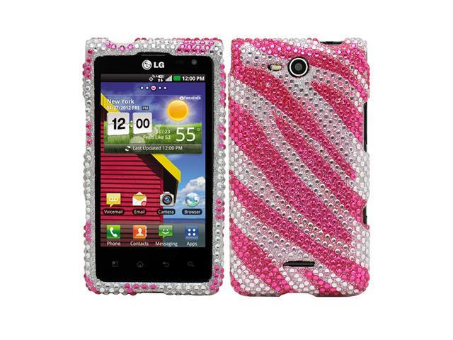 Fosmon Snap On Rhinestone/Crystal Case for LG Lucid / Cayman / VS840 / Lucid 4G - Pink Zebra