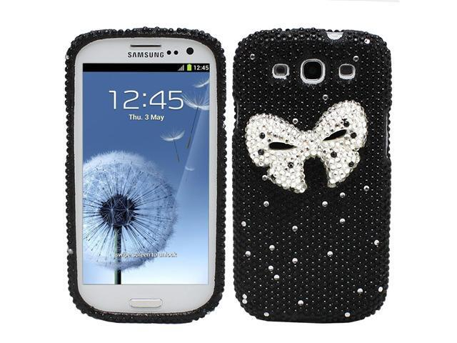 Fosmon Bling Crystal Case for Samsung Galaxy S3 / SIII - Black & White 3D Rhinestone Bow Tie