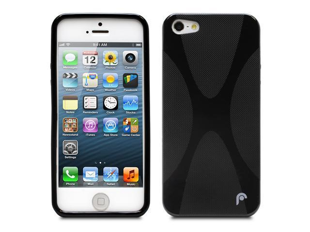 Fosmon Durable X Shape TPU Protector Case Cover Skin for Apple iPhone 5 - Black