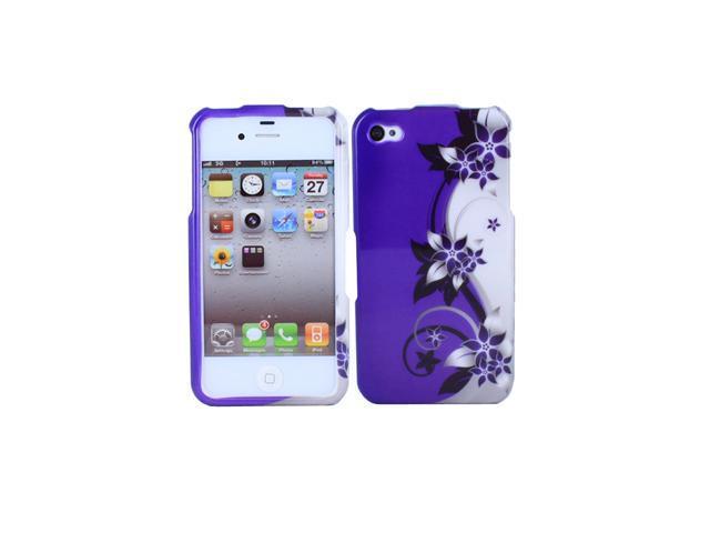 Fosmon Crystal Flower Hard Case Cover Skin for Apple iPhone 4S 4 - Purple/White