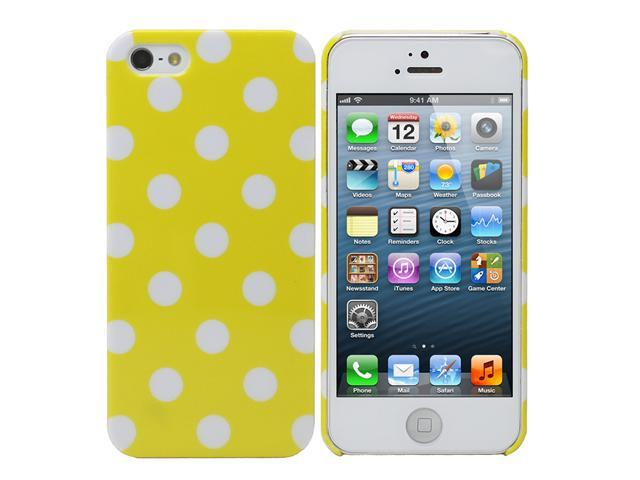 Fosmon SLIM Series Crystal Polk Dot Case for Apple iPhone 5 / 5S - Yellow with White Dots
