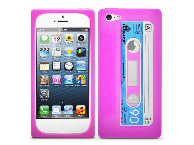 Fosmon JEL Series Silicone Cassette Case for Apple iPhone 5 - Hot Pink / Blue