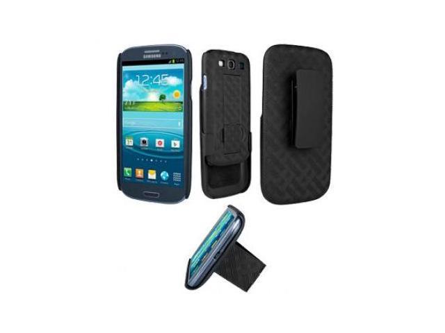 Verizon Criss-Cross Shell / Holster Combo with Kickstand for Samsung Galaxy S III / S3 - Black (Bulk Packaging)
