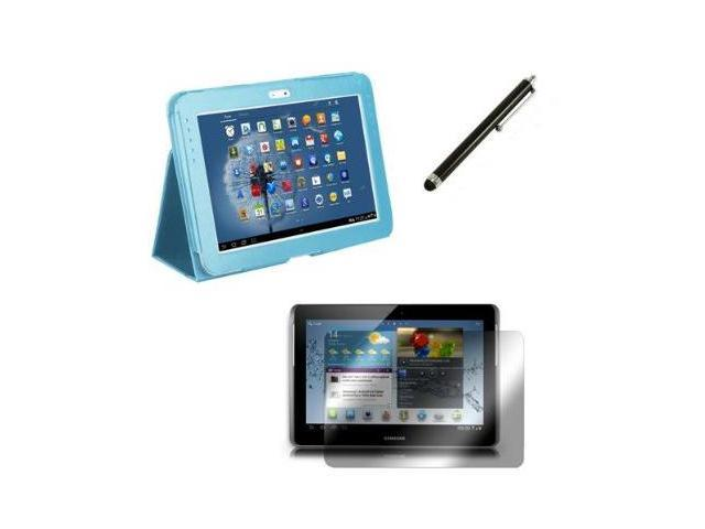 Fosmon Slim Fit Leather Folio Case with Stand 3 in 1 Bundle for Galaxy Note 10.1 Tablet