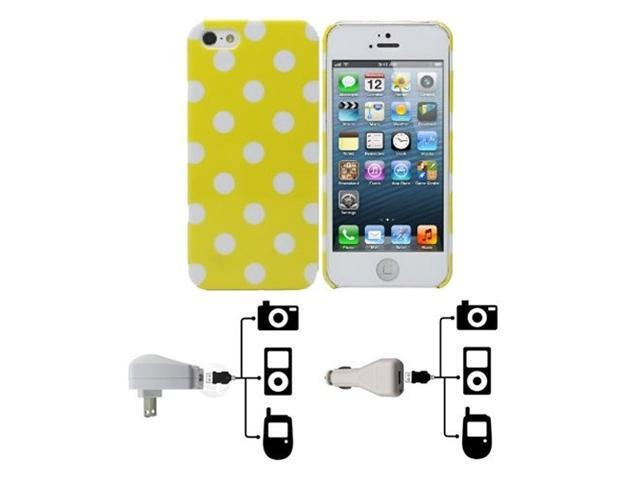 Fosmon SLIM Series Crystal Polk-A-Dot Case 3 in 1 Bundle for Apple iPhone 5