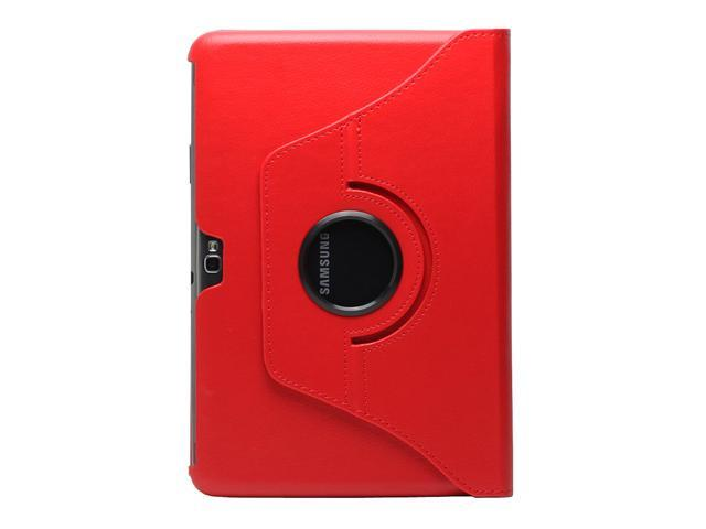 Fosmon Revolving Leather Case with Multi Angle Stand for Samsung Galaxy Note 10.1 Tablet - Red