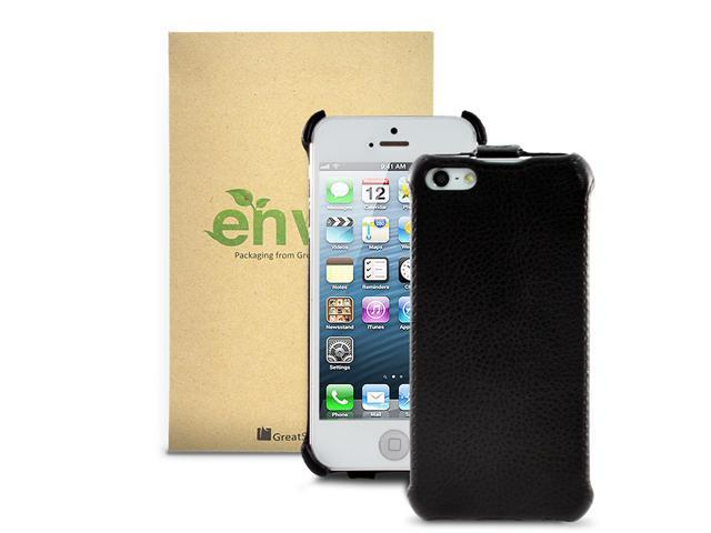 GreatShield Vertical Flip Leather Protector Case Cover for Apple iPhone 5/5S -Black