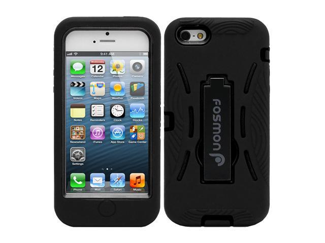 Fosmon HYBO Series Detachable Hybrid Silicone + PC Case with Stand for Apple iPhone 5 - Black / Black
