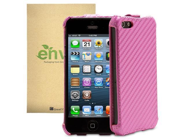 GreatShield SHIFT CX Carbon Fiber Design Leather Case for Apple iPhone 5/5S (Pink)