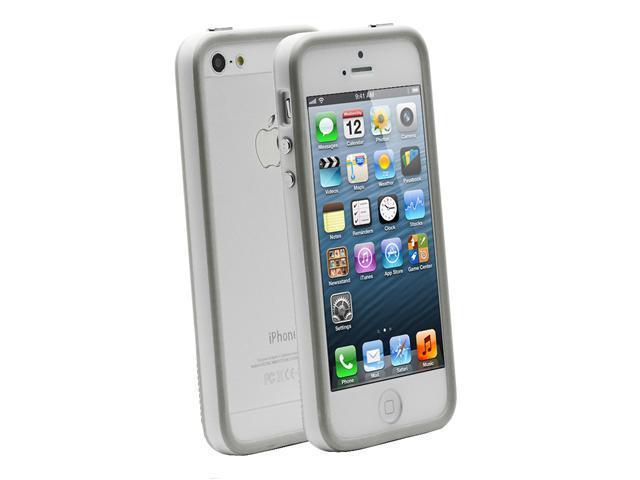 Fosmon BUFFER Series TPU Bumper Case for Apple iPhone 5 / 5S - Grey Edge / White Center