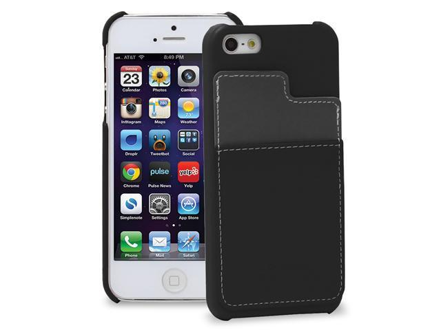 GreatShield Guardian Series Leather Snap Case w/ Card Pocket for Apple iPhone 5/5S (Black / Gray)