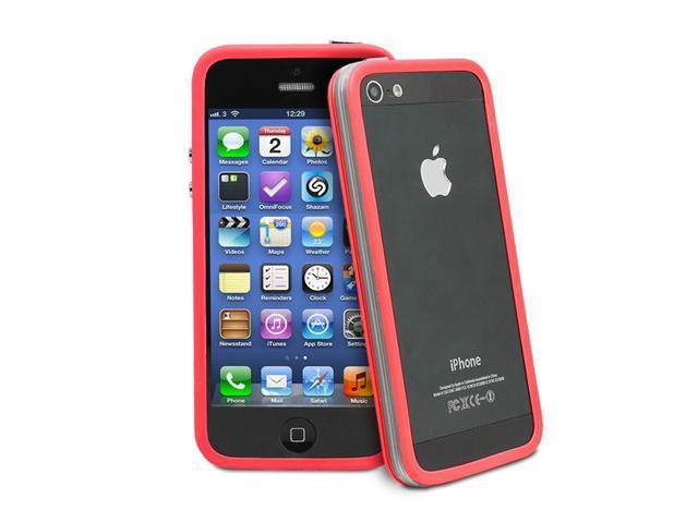 GreatShield AEGIS Series PC + TPU Ultra Slim Bumper Case for Apple iPhone 5/5S - Clear Red