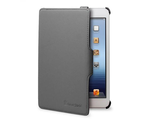 GreatShield VANTAGE Series Ultra-Slim Leather Folio Case w/ Stand & Hand Strap for Apple iPad Mini - Black