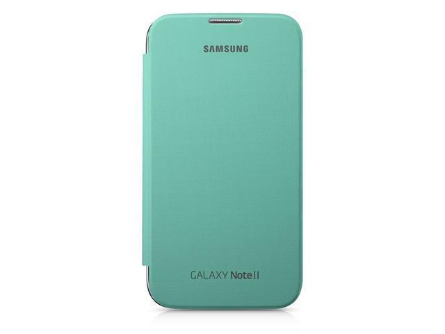 Samsung Original Polyurethane Flip Cover for Samsung Galaxy Note II / 2 - Mint Green