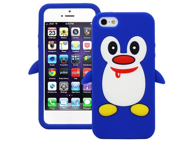 Fosmon Cute 3D Penguin Design JEL Series Silicone Case for Apple iPhone 5 / 5S - Blue