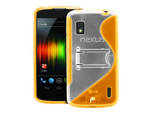 Fosmon HYBO-SK Series Hybrid PC + TPU Case w/ Stand for Google Nexus 4 / LG Nexus 4 - Orange