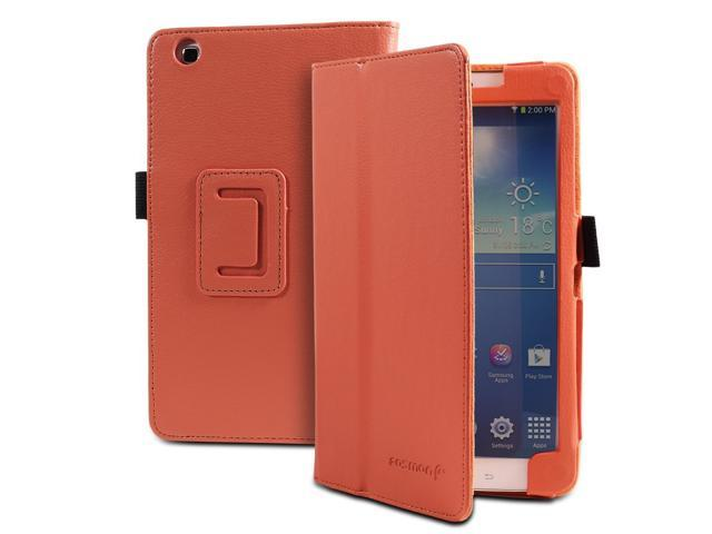 Fosmon OPUS Series Folding Leather Case with Stand, Stylus and Sleep/Wake Function for Samsung Galaxy Tab 3 8.0 Tablet (Coral)