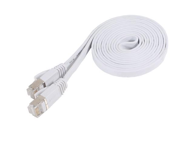 Fosmon Cat7 Network Ethernet Patch Flat Cable (White) - 6ft