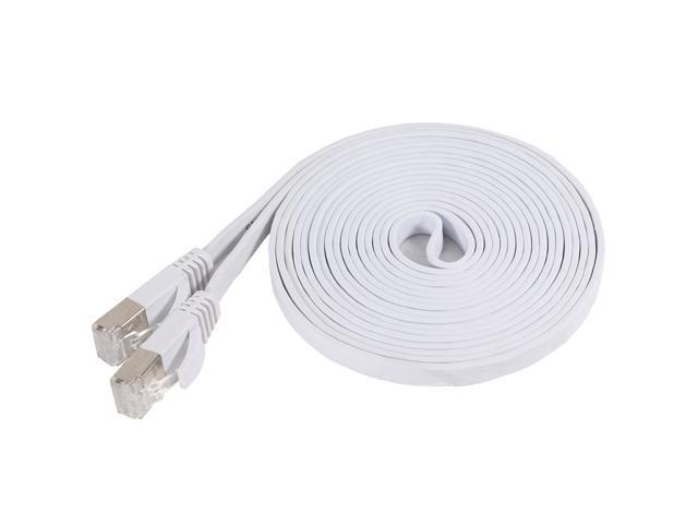 Fosmon Cat7 Network Ethernet Patch Flat Cable (White) - 10ft