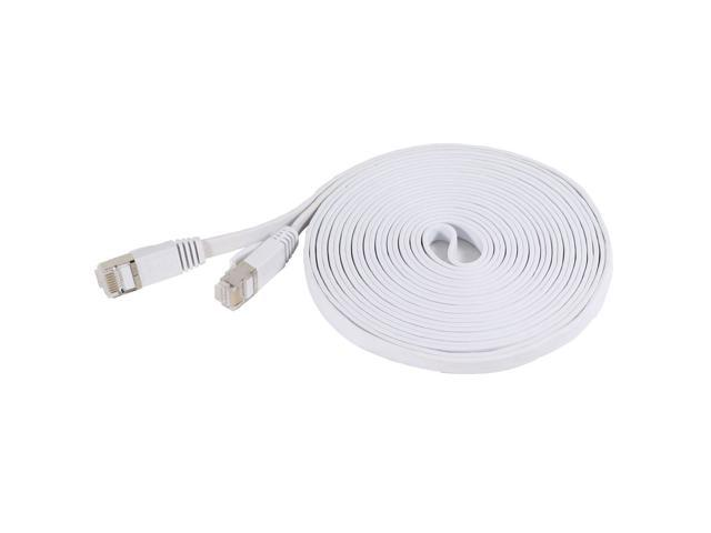Fosmon Cat7 Network Ethernet Patch Flat Cable (White) - 15ft