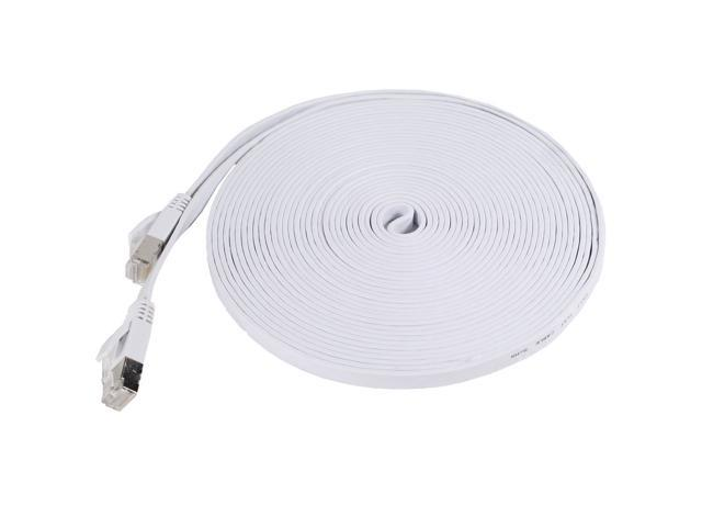 Fosmon Cat7 Network Ethernet Patch Flat Cable (White) - 25ft