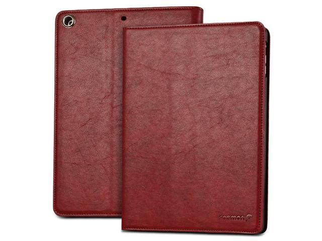 """Fosmon OPUS-CLASSIC Series Leather Folio Stand Case with Sleep / Wake Function for Apple iPad Air 9.7"""" Tablet - Red"""