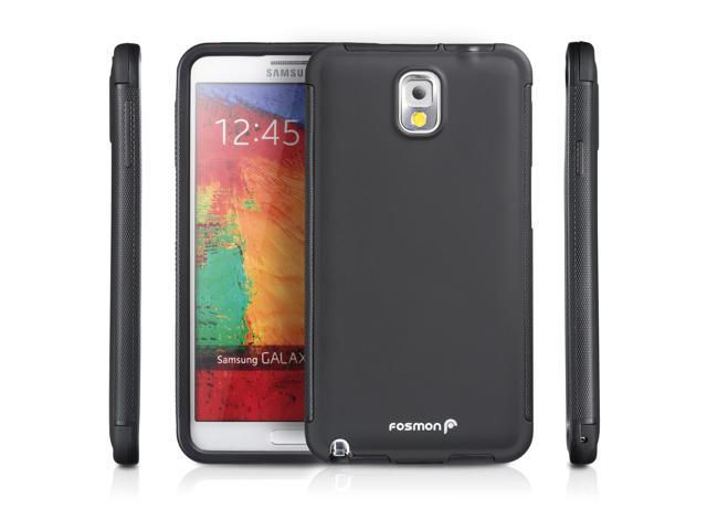 Fosmon Samsung Galaxy Note 3 III (HYBO-SNAP) Full-Body Hybrid Protective Case Cover with Built-In Screen Protector - Black