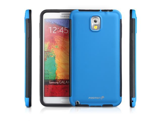 Fosmon Samsung Galaxy Note 3 III (HYBO-SNAP) Full-Body Hybrid Protective Case Cover with Built-In Screen Protector - Blue