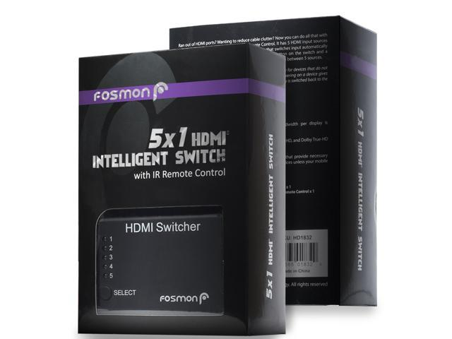 Fosmon 5 X HDMI Port Switch/Switcher with IR Remote Support 3D
