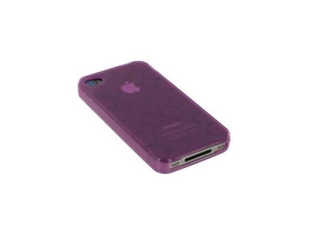 Fosmon High Quality Circle Design TPU Protective Case for AT&T Apple iPhone 4- Purple