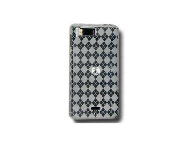 Fosmon Checkers Design TPU Protective Case fits Motorola Droid X MB810- Clear