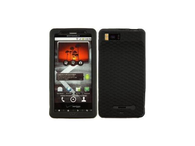 Silicone Case with Basket Weave Texture Grip for Motorola Droid X MB810- Black
