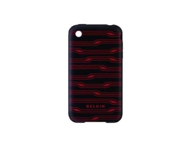 Belkin Grip Circuit Silicone Case Fits Apple iPhone 3G / 3GS (Black / Red)