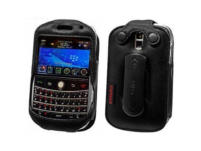 Cellet LBLK9000E Elite Leather Case with Swivel Clip & Spring Clip for BlackBerry Bold 9000 - Black